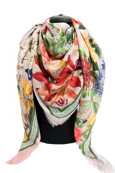 'Botanica Blush' LARGE Cashmere & Modal Scarf 140cm x 140cm - The Block Collection