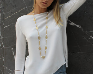 PEARLA Brushed gold & multi pearl & chain necklace