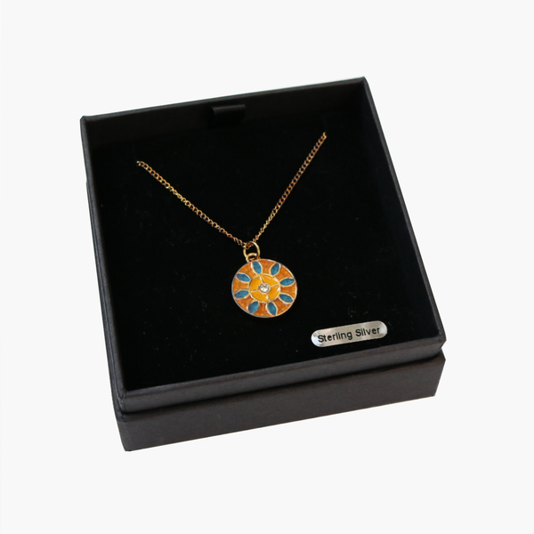 Gold Plated Sterling Silver & Enamel Pendant with Zircon