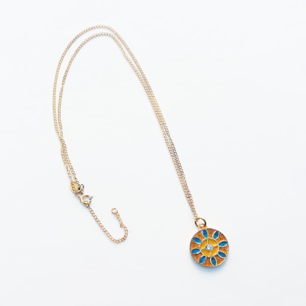 Gold Plated Sterling Silver & Enamel Pendant with Zircon - The Block Collection