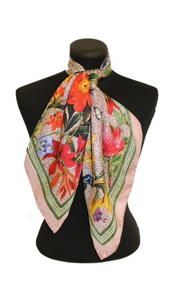 'Botanica Blush Pink' CLASSIC Silk Scarf 90cm x 90cm - The Block Collection