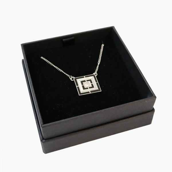 Mother of Pearl & Onyx Sterling Silver Pendant with Zircon - The Block Collection