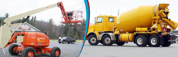 Manlift and Cement Truck