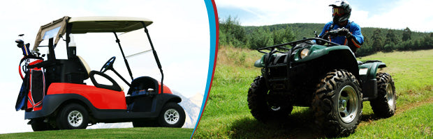 picture of a golf cart and an ATV