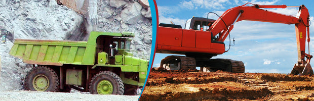 picture of a mining truck and dump truck