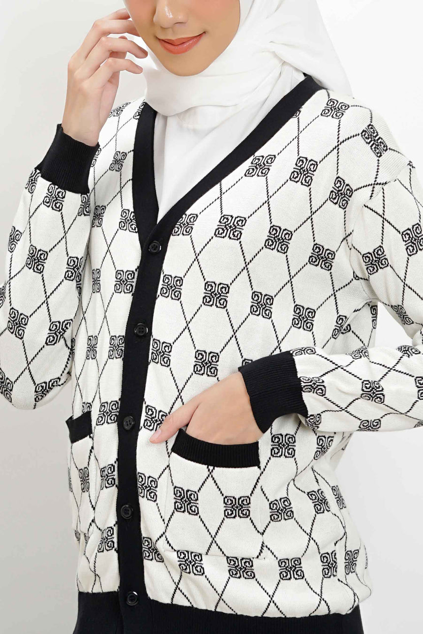 Stamp Monogram Cardigan White