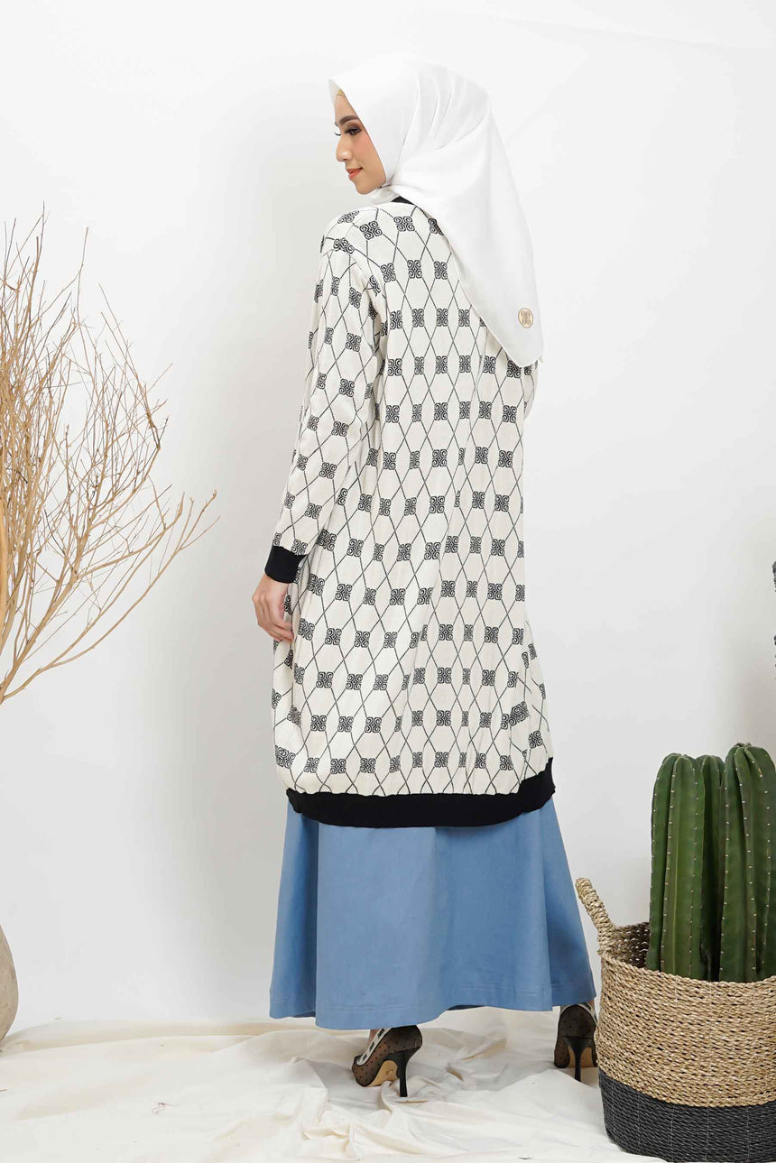Stamp Monogram Long Cardi White