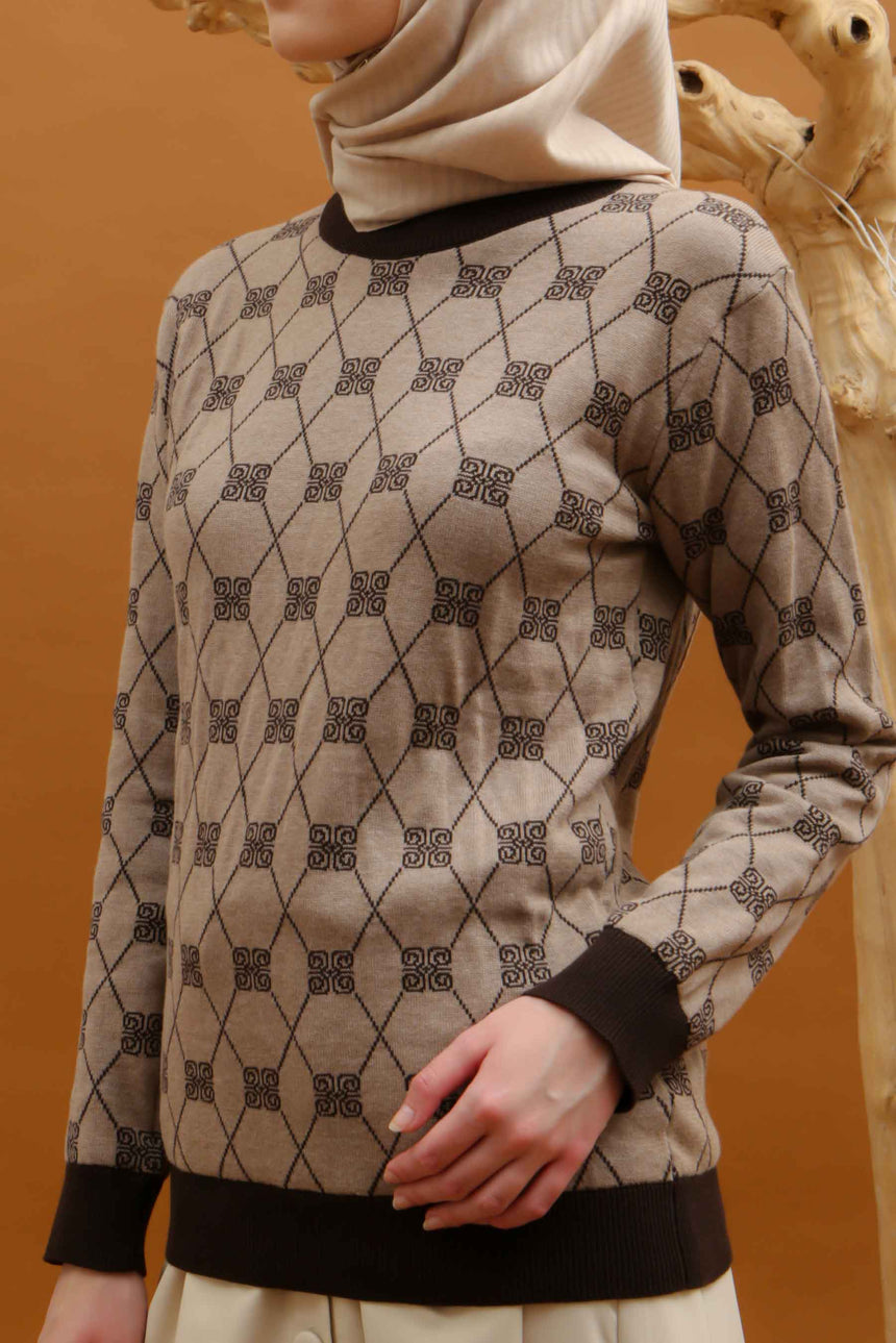 Stamp Monogram Sweater Brown