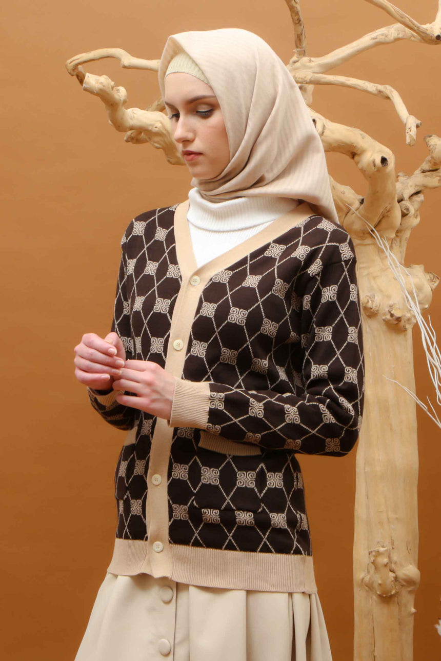 Stamp Monogram Cardigan Brown