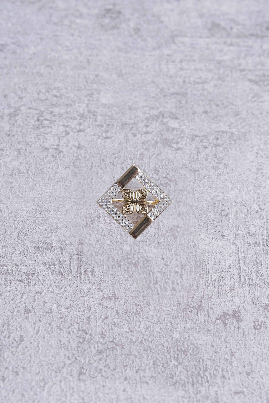 Mini Crystal Square Brooch Gold