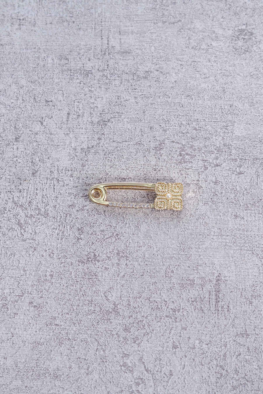 Moon Safety Pin Gold