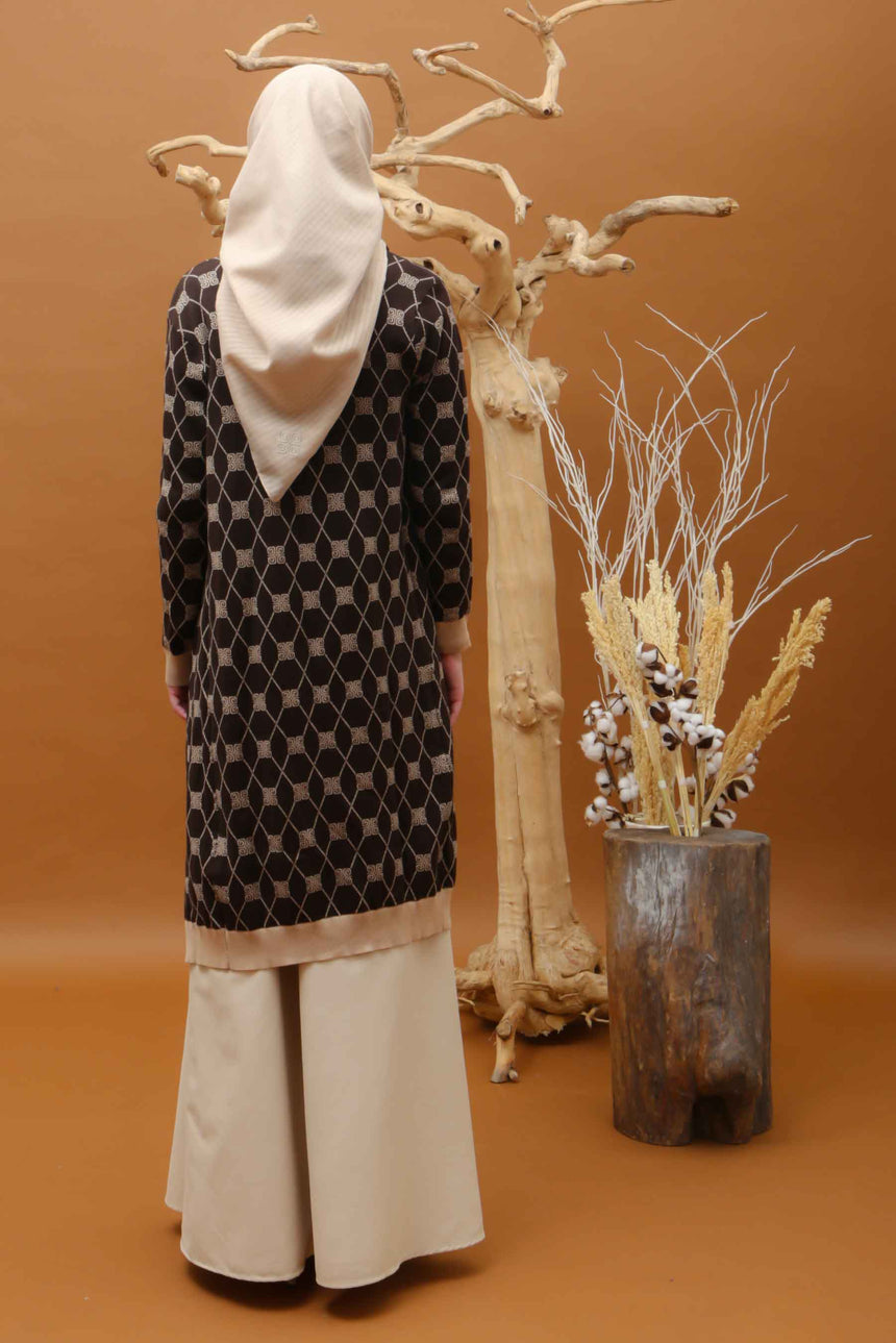Stamp Monogram Long Cardi Brown