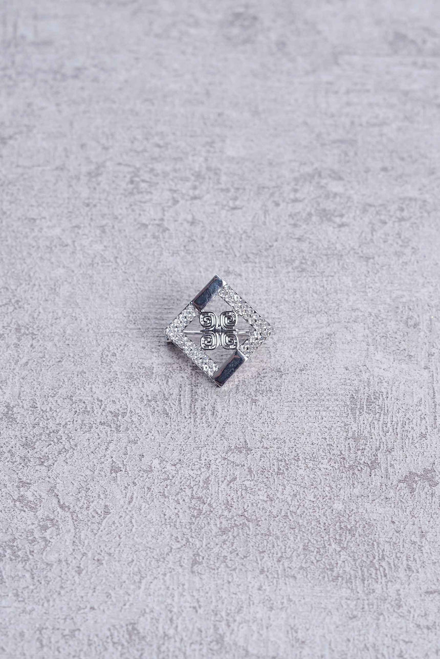 Mini Crystal Square Brooch White K
