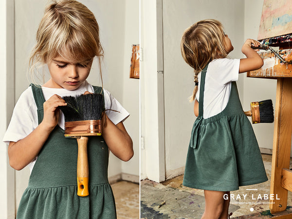 Gray Label sage pinafore dress on sale at Desmond Elephant