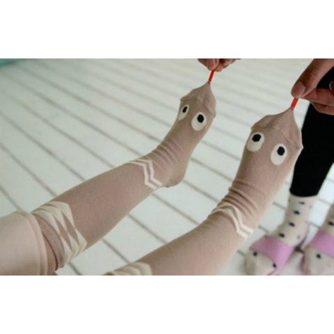 MINI DRESSING SNAKE KNEE SOCKS - GREY & BEIGE