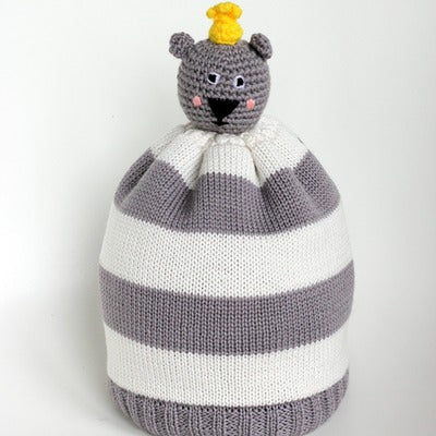 BRAVELING BOBBLE BEANIES BEAR HUG - YELLOW
