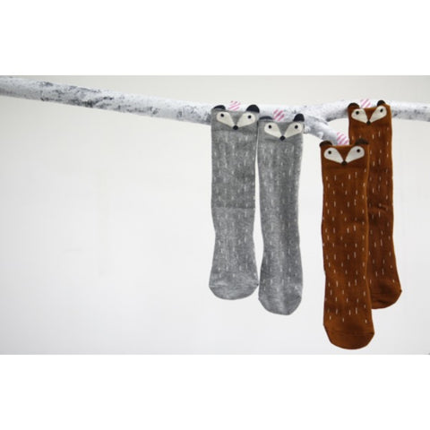 MINI DRESSING RACCOON & FOX KNEE SOCKS - GREY & BROWN
