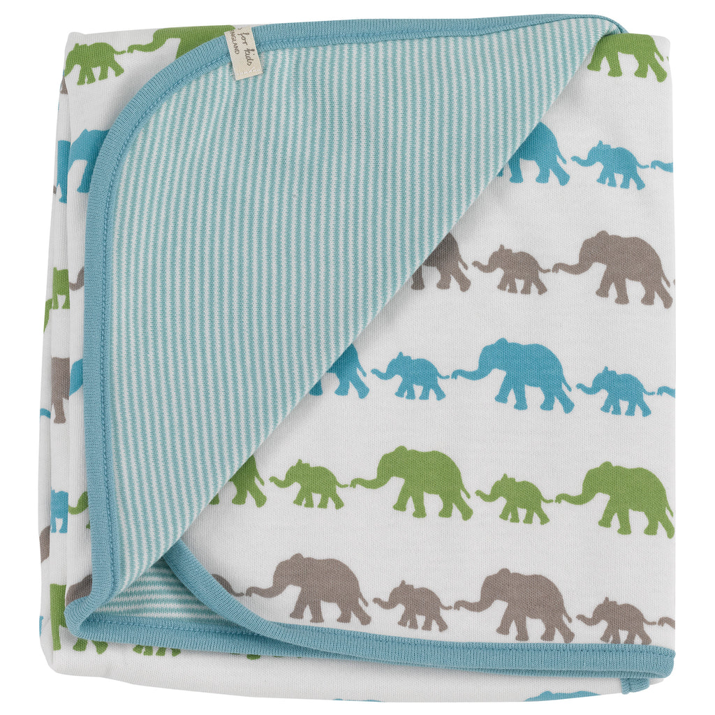 PIGEON BY ORGANIC FOR KIDS MULTI-COLOUR ELEPHANT BLUE MIX BLANKET