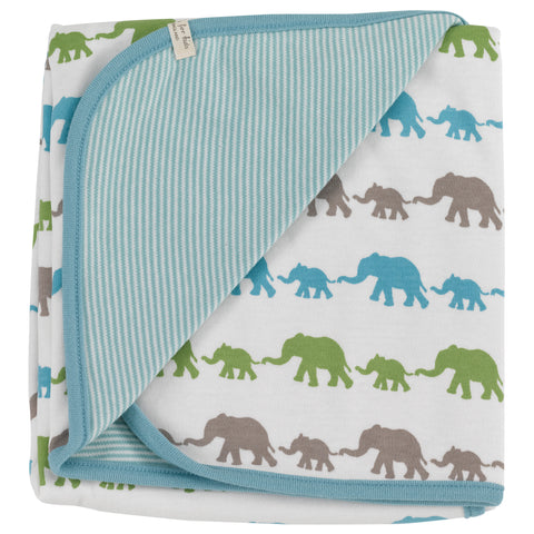 PIGEON ORGANICS MULTI-COLOUR ELEPHANT BLUE MIX BLANKET