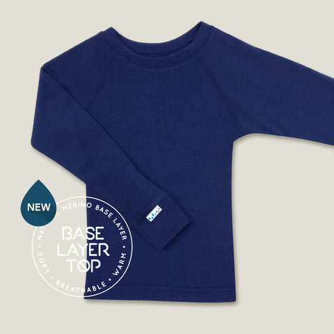 SUPERLOVE MERINO SUPERFINE MERINO KIDS BASE LAYER TOP - FRENCH NAVY