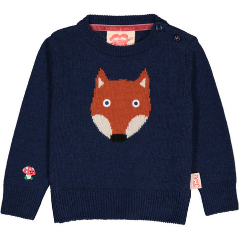 TOOTSA MACGINTY FOX JACQUARD KNIT JUMPER - DEEP BLUE