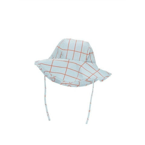 TINY COTTONS GRID SUN HAT - LIGHT BLUE