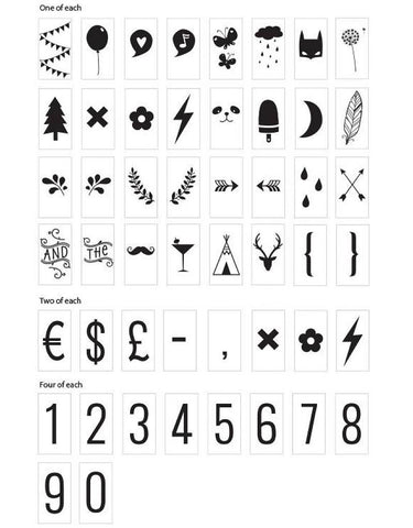 A LITTLE LOVELY COMPANY LIGHTBOX SYMBOL SET - NUMBERS AND SYMBOLS