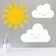 PYGMY CLOUD - HAPPY SUN & CLOUD WALL STICKERS
