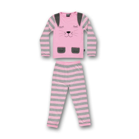 UBANG BABBLECHAT LONG SLEEVE RABBIT PYJAMAS - SLEEPY PINK