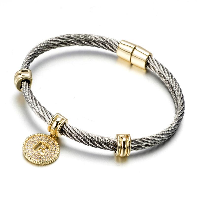 Two Tone Stainless Steel Cable Initial Charm Bracelet/Bangle