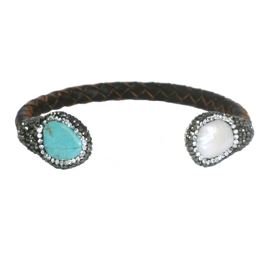Boho with a Modern Twist Braded Leather Jeweled Turquise and White Pearl Bracelet 696B4357