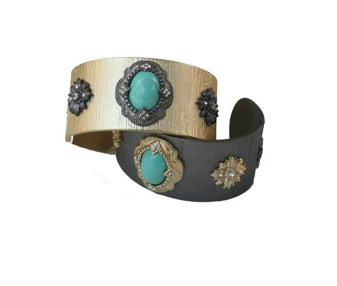 Brushed Satin wide open cuff bangle with a centered epoxy turquoise stone adorned with vintage designs