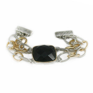 Gold and Silver Toned Double Link Chain Bracelet with Briolette Cut Black Center Stone