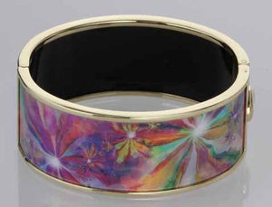 High definition photo printed enamel Cloisonné hinged gold extra wide Bangle 500B3704G