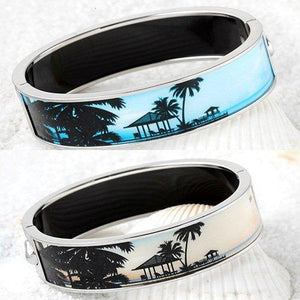High definition photo printed enamel Cloisonné hinged gold extra wide Bangle 500B3729X