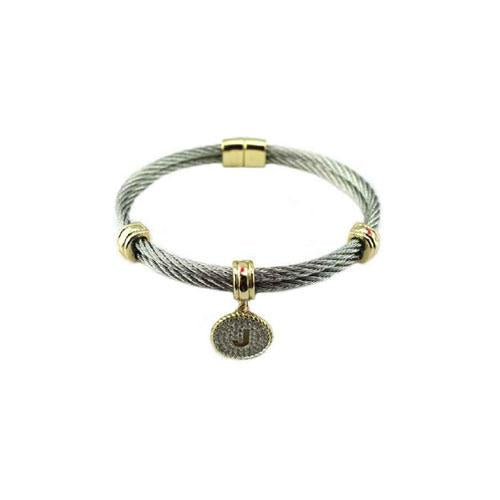 Two Tone Stainless Steel Cable Initial Charm Bracelet/Bangle. 500B