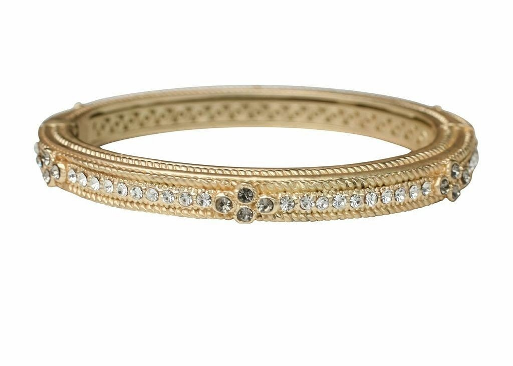 Fine textured Satin finish hinged oval bold bangle.