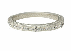 Heart Hinged Bangle-Silver