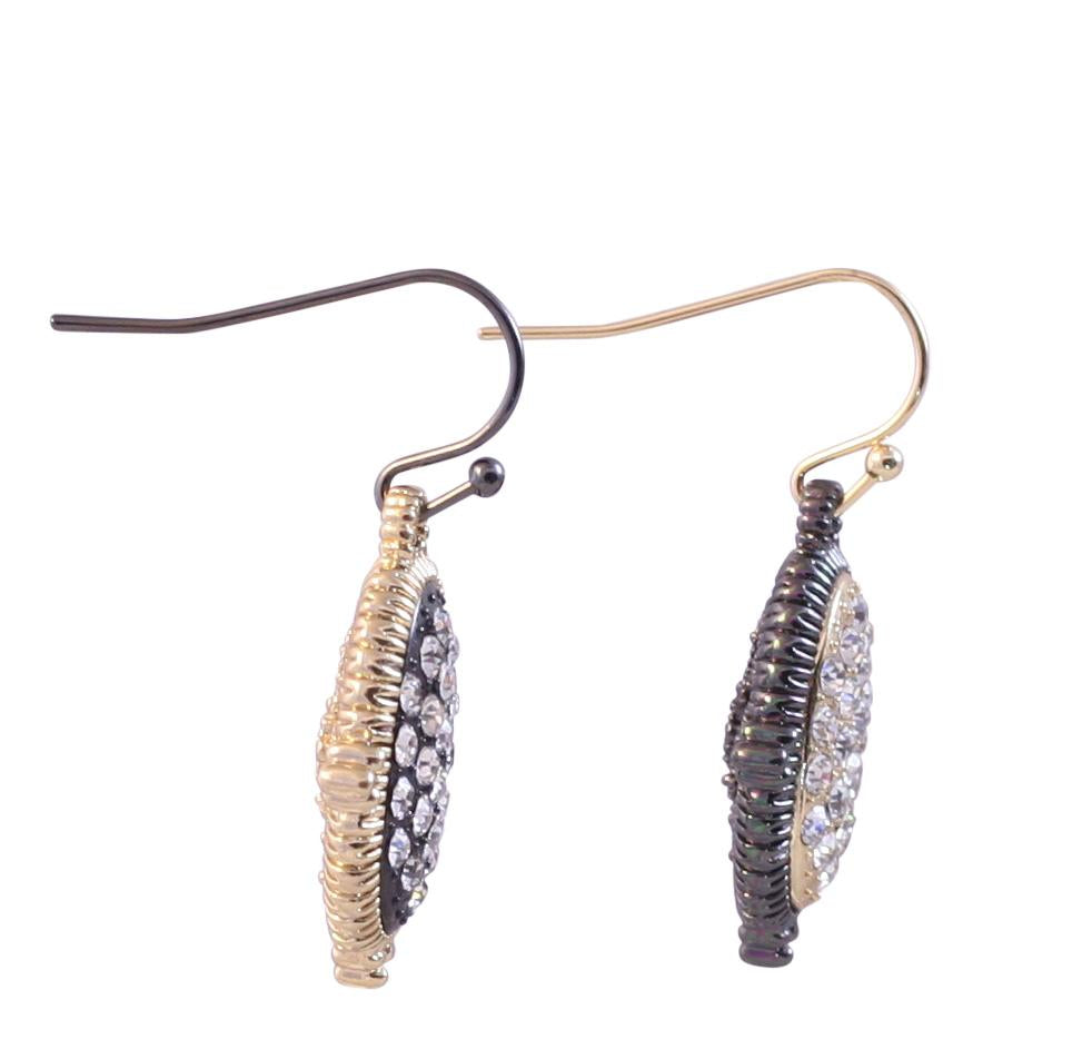 Textured Hematite and Gold tone Crystal stone pave oval earrings 500E-114