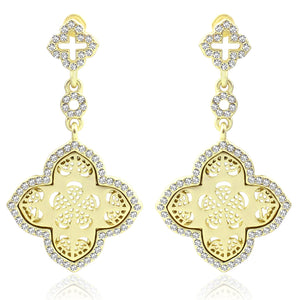 Two tier dangling satin gold clover earring with filigree design set with crystal stones along the border  500E2113