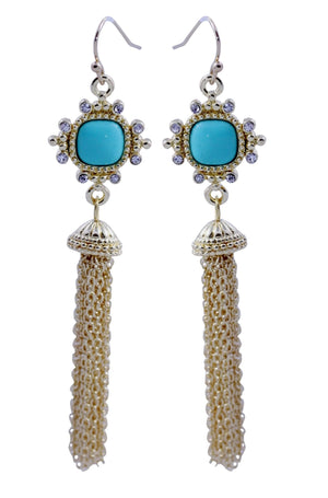 Turquoise cushion cut square gold plated tassle earring detailed with crystal stones, finished with fish hook 500E2582