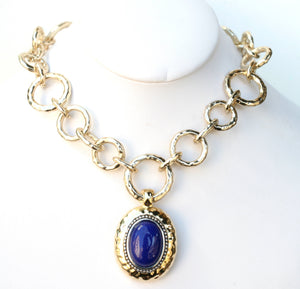Electroplated polished hammered chain link necklace with royal blue oval drop pendant
