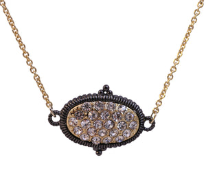 Textured Hematite and Gold tone Crystal stone pave oval station necklace 500P-114