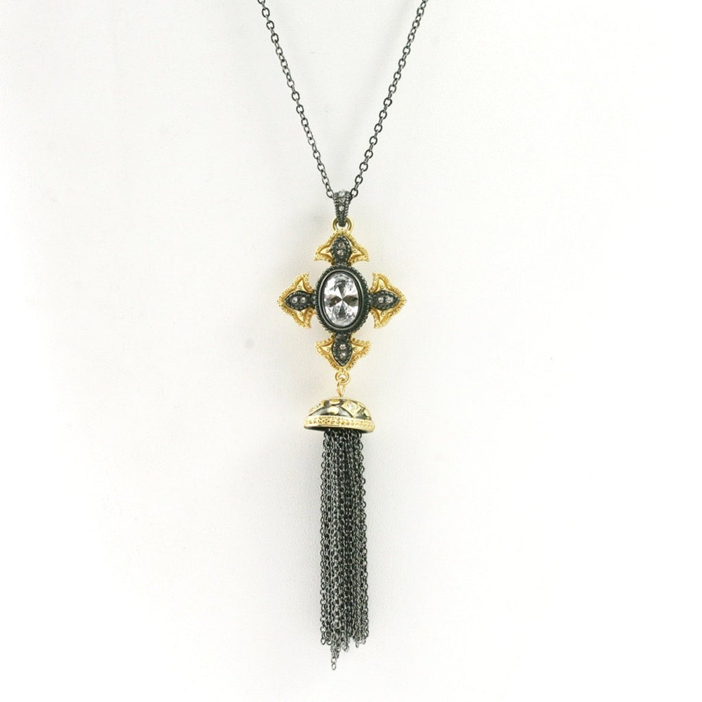 Vintage Tassel Black and Gold Cross Pendant With Oval Cut Cubic Zirconia Center Stone Micropaved With CZ on an Anchore Link Chain