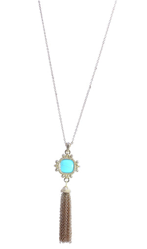 Long 30'' Turquoise cushion cut square gold plated tassle necklace detailed with crystal stones 500P2582