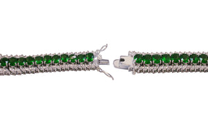 Fancy Mixed Cut Emerald Green Zirconite Cubic Zirconia Ornate Bracelet featuring brilliant Marquise and Oval stones in a uniformed sophisticated pattern 501B31913EM