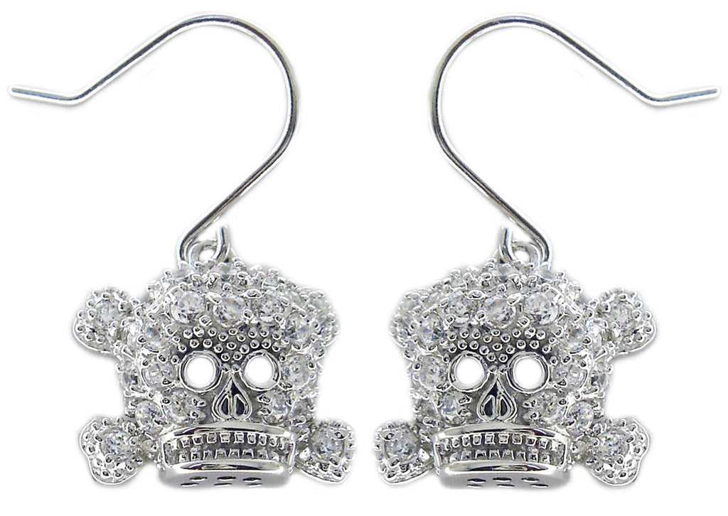 Sterling Silver Zirconite Cubic Zirconia pave skull head earrings