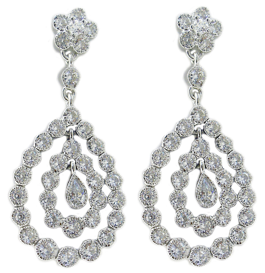 Sterling silver bezel set Zirconite Cubic Zirconias in a pear drop shape earring finished with flower top post