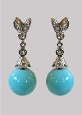 12MM Turquise Coated Shell Mop Pearls Zirconite Set Earrings