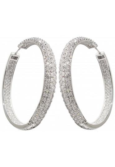 Fashion Hoop Earrings - Rhodium Plating